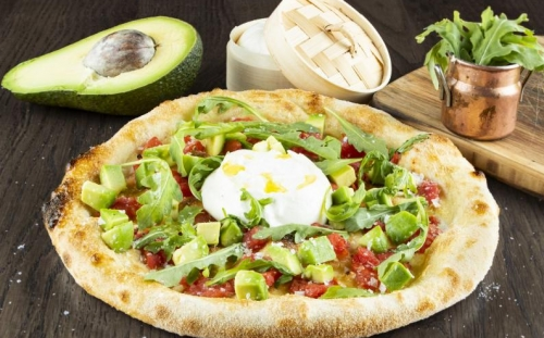 PIZZA OVEN Handmade Burrata with avocado Handmade